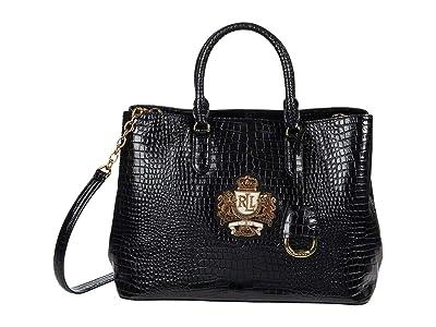 LAUREN Ralph Lauren Marcy Satchel (Black) Handbags