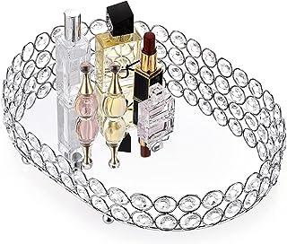 Hipiwe Mirrored Crystal Vanity Makeup Tray, Ornate Jewelry Trinket Decorative Tray Cosmetic Perfume Display Organizer Tra...