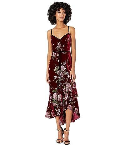 Marchesa Notte Sleeveless Embroidered Velvet Hi-Lo Cocktail Dress w/ Cascading Asymmetrical Hem (Wine) Women