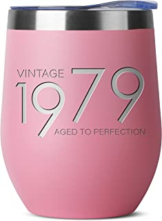 1979 40th Birthday Gifts for Women and Men Pink 12 oz Insulated Stainless Steel Tumbler   40 Year Old Presents   Mom Dad Wife Husband Present   Party Decorations Supplies Anniversary Tumblers Gift th