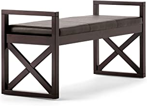 Simpli Home 3AXCOT-253-DBR Rockchapel 48 inch Wide Contemporary Rectangle Ottoman Bench in Distressed Brown Faux Leather