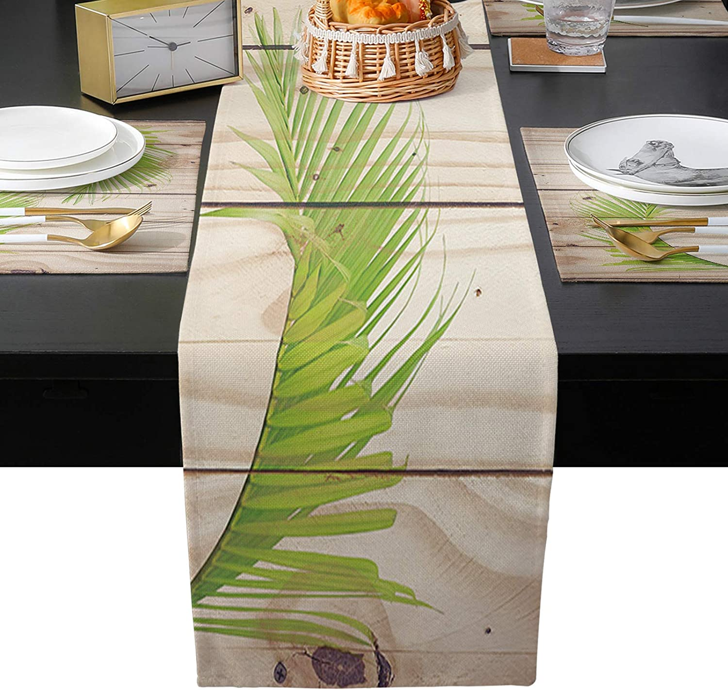 Table Runner with Placemats Set Fashion of Selling rankings Palm Tropical Placemat 6 Leaf