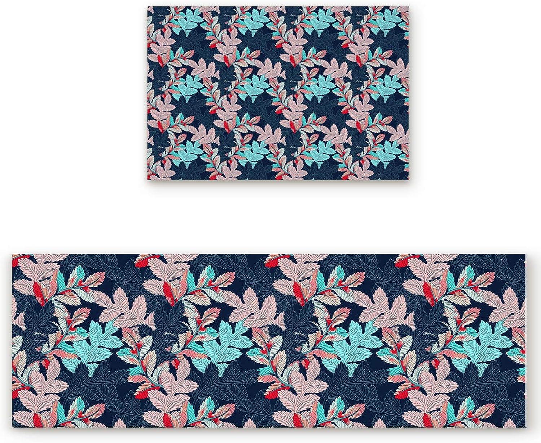 Savannan 2 Piece Non-Slip Kitchen Bathroom Entrance Mat Absorbent Durable Floor Doormat Runner Rug Set - colorful Leaf
