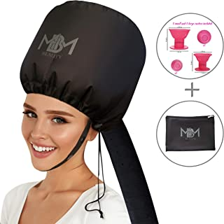 Bonnet Hair Dryer Attachment-W/ 10 Silicone Hair Curlers-Extra Large Adjustable Soft..