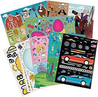 Kicko Sticker Scene Mega Assortment - Set of 96 Cute Stickers Scene for Birthday Treat, Goody Bags, School Activity, Group Projects, Room Decor, Arts and Crafts