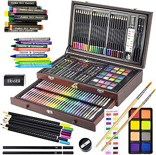 Sunnyglade Juego de arte de lujo de 145 piezas, caja de madera y kit de dibujo con ceras, pasteles al óleo, lápices de col...