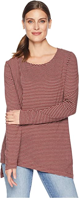 Heathered Jersey Stripe Asymmetrical Hem Long Sleeve Tee