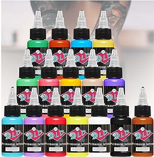 DLD Tattoo 16 basiskleuren tattoo-inkt, set pigment kit, 1 ounce professionele tattoo-supply voor tattoo, kleur, schoonhei...