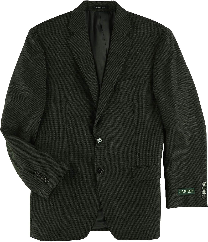 Ralph Lauren Mens Mini-Grid Two Button Blazer Jacket, Brown, 42 Long