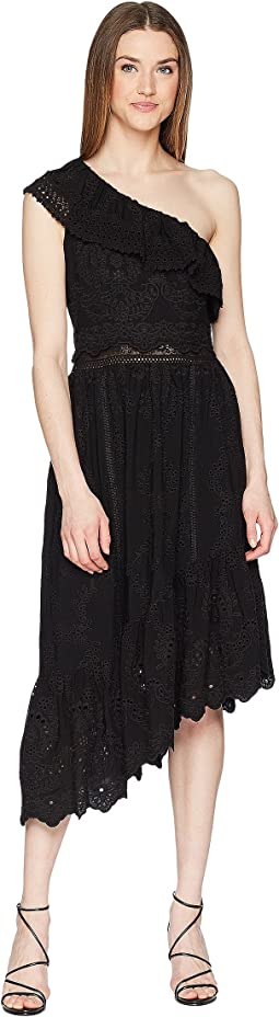 The Kooples Asymmetrical Cotton Dress with Fancywork Details