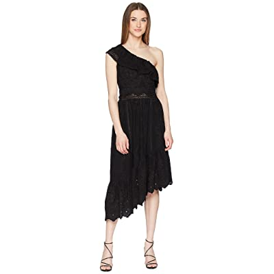 The Kooples Asymmetrical Cotton Dress with Fancywork Details (Black) Women