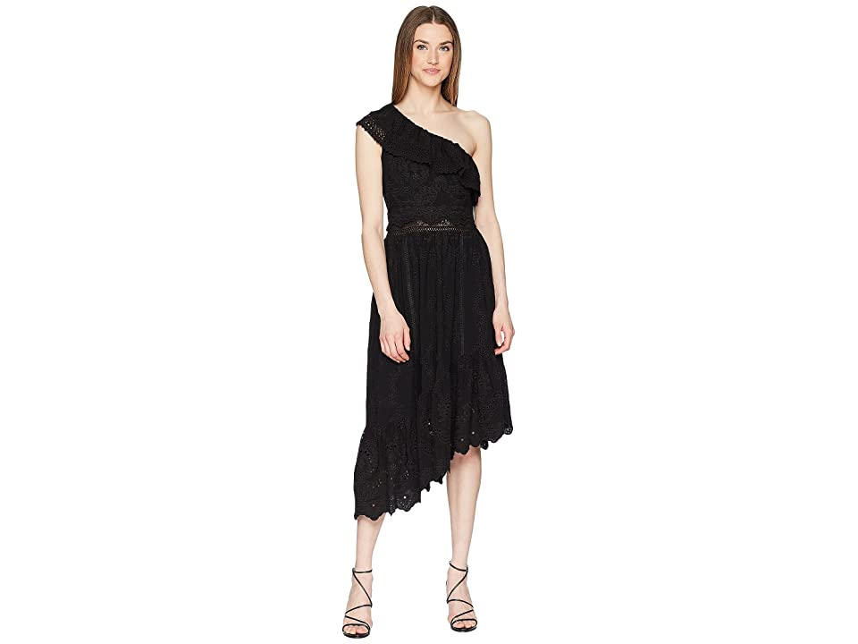 The Kooples Asymmetrical Cotton Dress with Fancywork Details (Black) Women