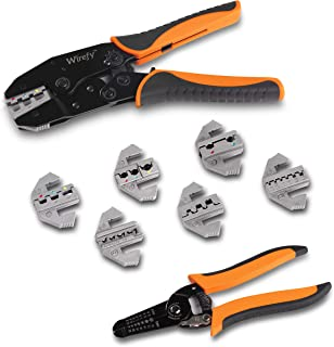 Wirefy Crimping Tool Set 8 PCS - Ratcheting Wire Crimper - Heat Shrink, Non-Insulated, Open Barrel, Flag, Ferrule Connectors