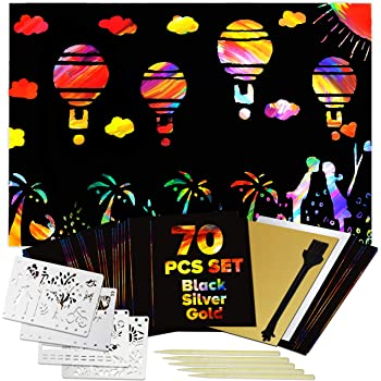 bago Scratch Art for Kids 70Pcs - Vibrant Rainbow Scratch Paper for Kids and Adults Craft Fun (Black)