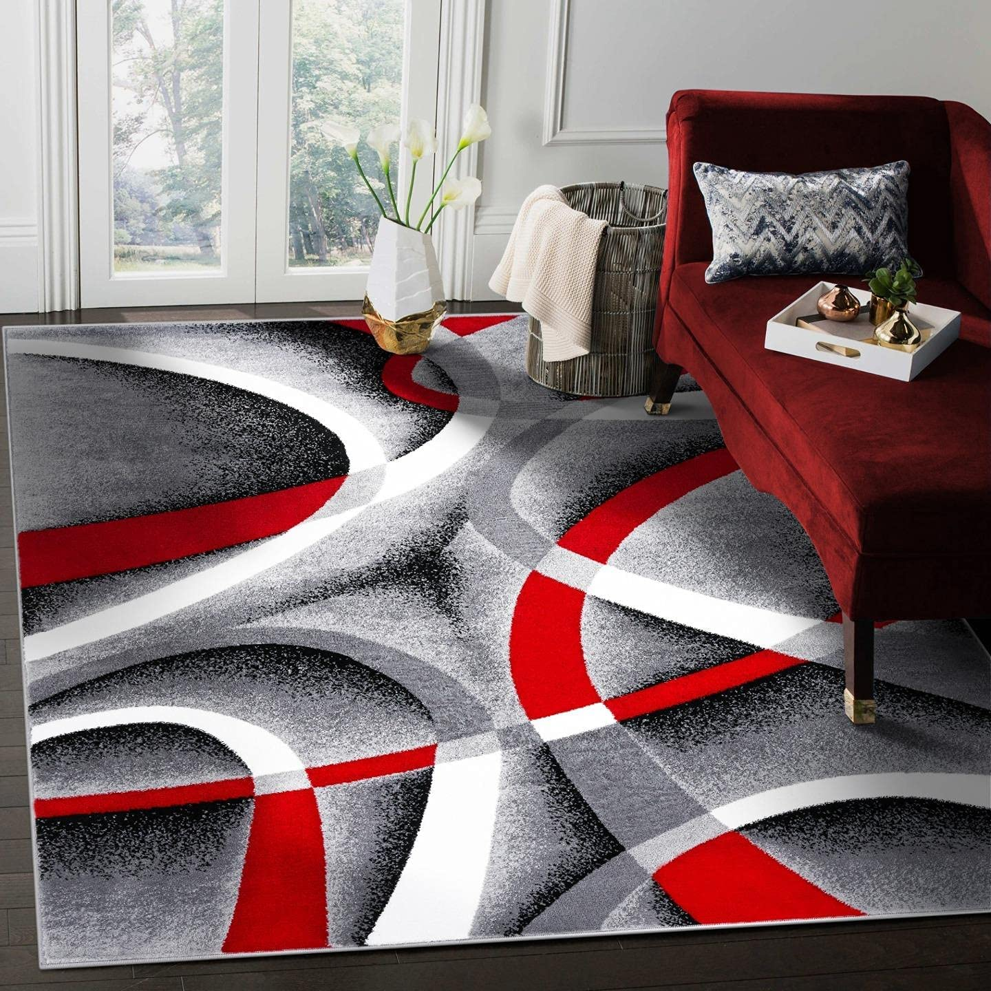 2305 Gray Black Red White 10 x 13 Modern Abstract Area Rug Carpet