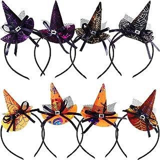 Blulu 8 Pieces Halloween Headband Witch Spider Web Pumpkin Hat Headbands for Halloween Costume Party Accessories, 3 Styles