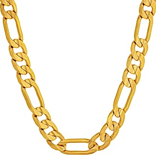 7mm Figaro Chain Necklace 24k Gold Plated for Men Women &...