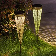 [2 Pack] Solar Pathway Lights. Outdoor Metal Decorative Stakes are Waterproof. Suited for Garden, Yard, Lawn, Patio, Walkway
