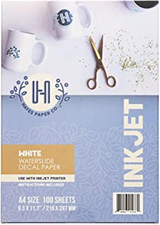 $74 » Hayes Paper Co. Waterslide Decal Paper Inkjet WHITE - Decal Paper for Inkjet Printer - A4 Water Transfer Paper, 100 Sheets...
