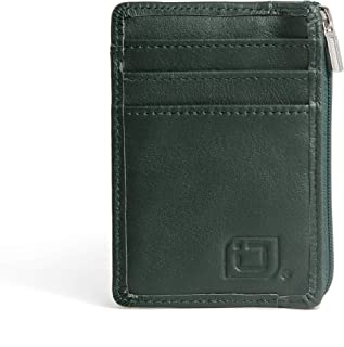 RFID Front Pocket Wallet Mini Minimalist Wallet Slim Wallet Genuine Leather with Zipper