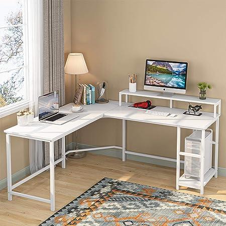 Tribesigns Bureau d'ordinateur Bureau de jeu Poste de travail d'écriture en forme de L Bureau d'étude d'angle PC Ordinateur portable Ordinateur portable Table de bureau