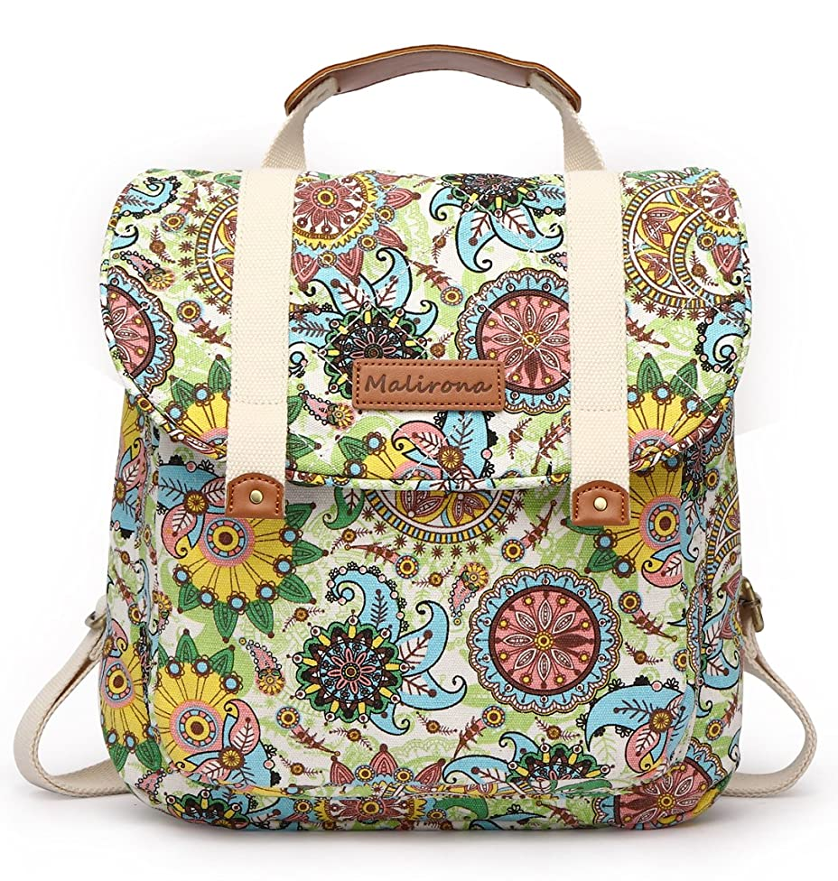 Malirona Women Backpack Purse Convertible Rucksack Backpack for Teen Girls Floral Backpack Purse Canvas