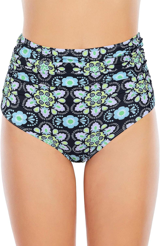 Zando Women's High Waisted Bikini Bottoms Tankini Swim Shorts Black Bathing Suit Bottoms Ruched Briefs for Women Green Floral M