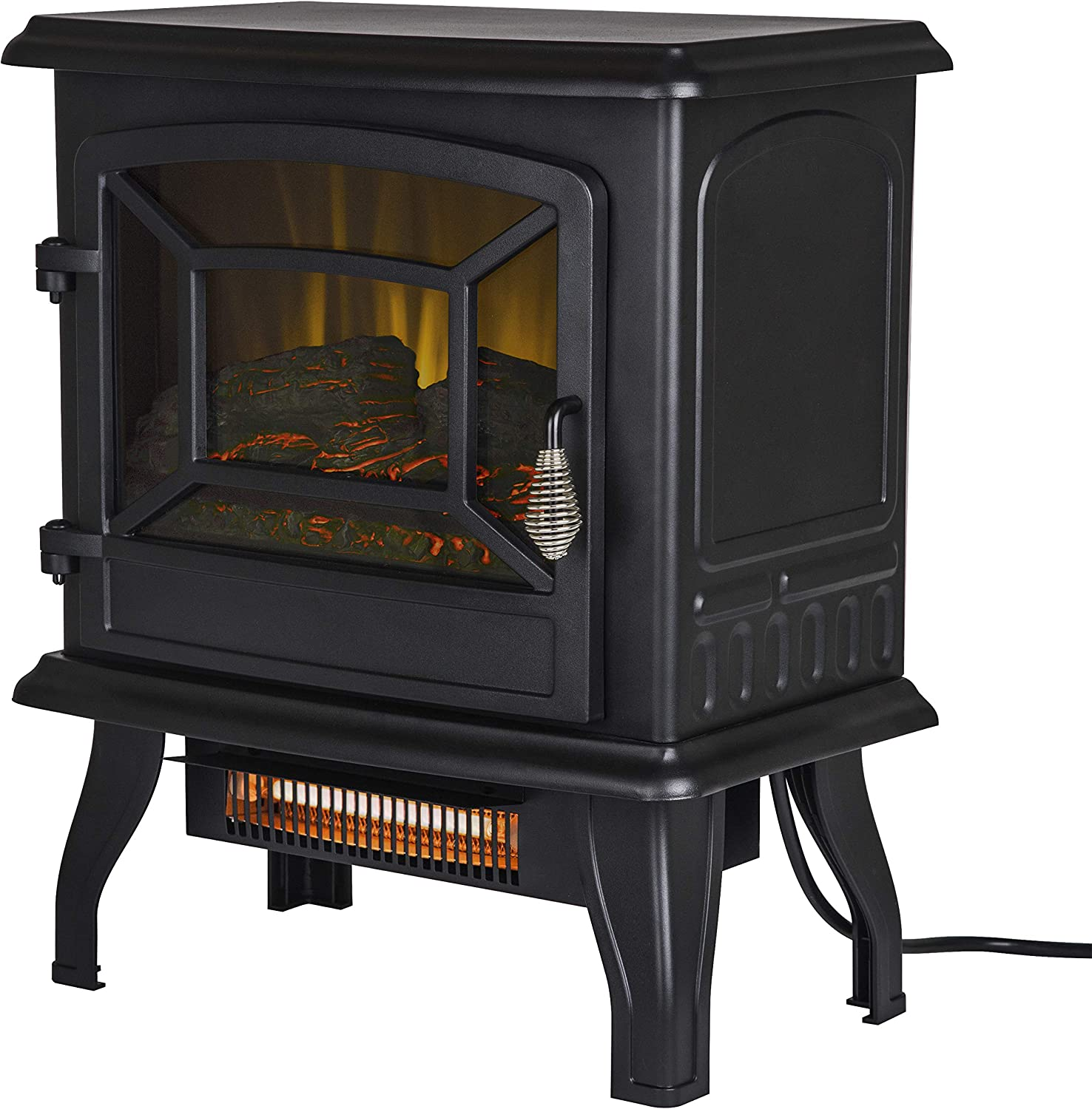 Pleasant Hearth ES-217-10 17  Infrared 2 Stage Heater Electric Stove, Black