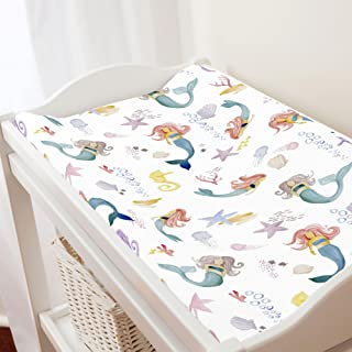 Carousel Designs Watercolor Mermaids Changing Pad Cover - Organic 100% Cotton Change Pad Cover - Made in The USA