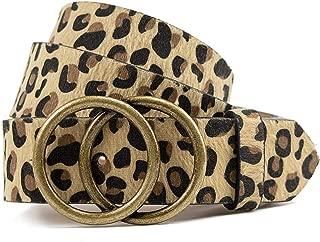Leopard Belts for Women Leather Belt for Jeans with Double O Buckle by LOKLIK