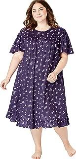 Dreams & Co. Women's Plus Size Short Floral Print Cotton Gown