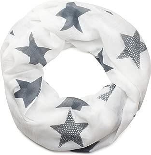 styleBREAKER Loop Schal mit Sterne Muster und edler Strass Applikation, Schlauchschal, Tuch, Damen 01018086