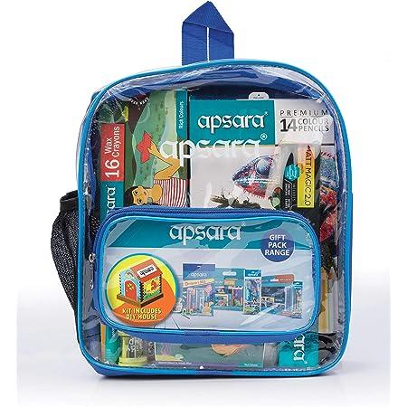Apsara Stationery Bag Kit-DIY House,Premium Colour Pencils, Matt Magic 2.0 Pencils, Water Colour Tube, Wax Crayon, Oil Pastel, Mechano Eraser, Tidy up Sharpner-Eraser Combo