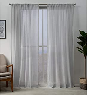 Exclusive Home Hemstitch Sheer Embellished Rod Pocket Top Curtain Panel Pair, Silver, 54x84, 2 Piece