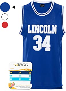 AFLGO Jesus Shuttlesworth #34 High School 'Lincoln' Basketball Jersey Hip Hop Party Clothing Include Wristbands