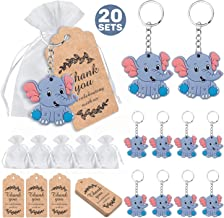 MOVINPE 20 Pcs Baby Shower Return Favors for Guests, Blue Baby Elephant Keychains + Thank You Kraft Tags + Organza Bags fo...