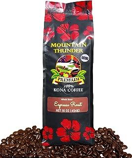 100% Kona Coffee Espresso Roast - 1 Pound Premium Gourmet Ground by Mountain Thunder Coffee Plantation