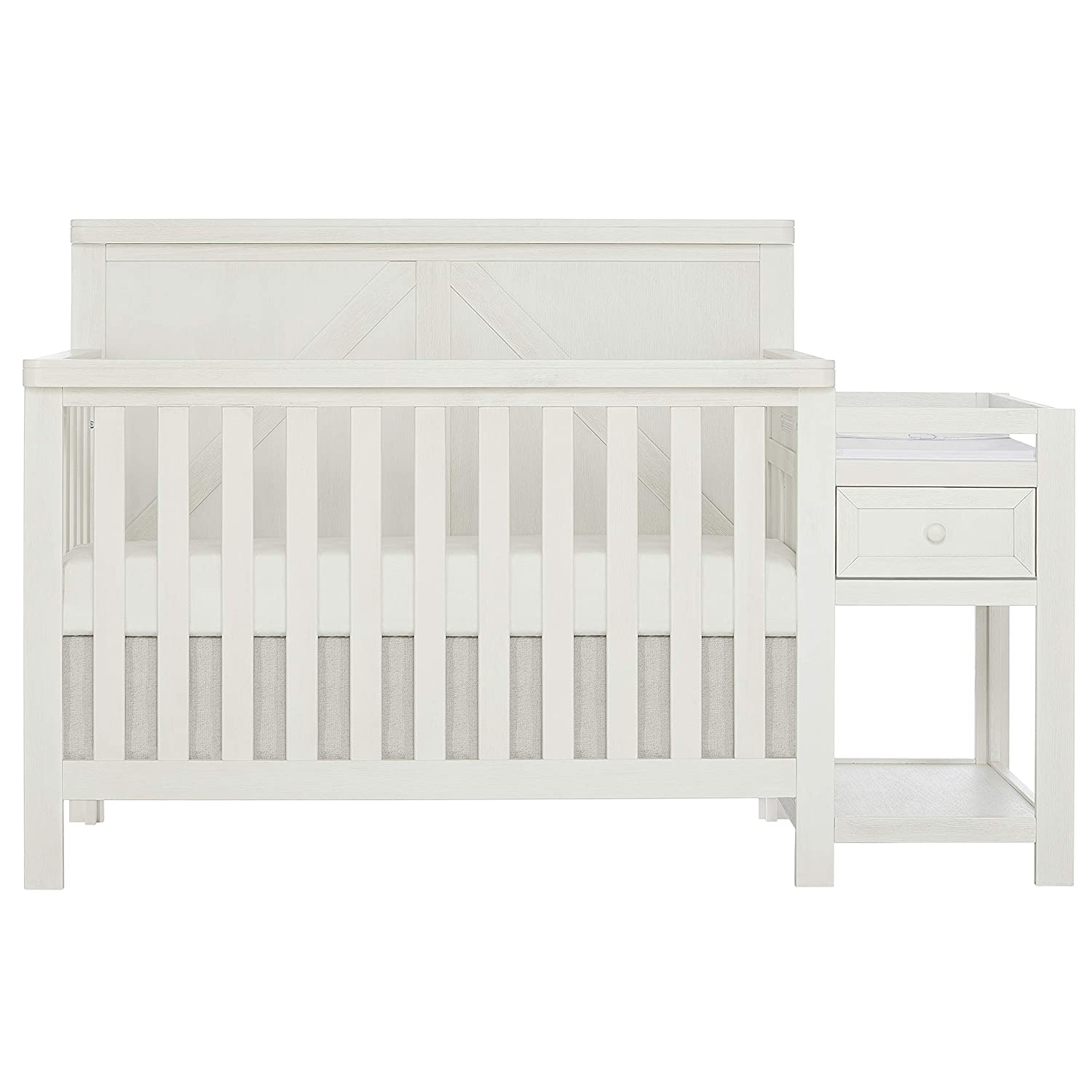 SweetPea Baby Meadowland 5-in-1 Convertible Crib & Changer I Attached Changer I Removable Changing Pad I Space-Saving Storage I Farmhouse Design, Weathered White