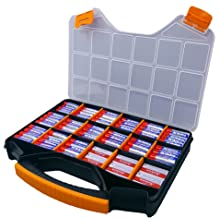 Massca Battery Storage Box Organizer Stores AAA, AA, and C Size. Hinged Box Made of Durable Plastic in a Slim Design with 18 compartments.