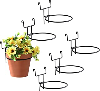 7-Inch Black Metal Wire Hanging Planter Holders for Wire Trellis Wall, Set of 6