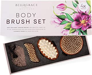 Dry Brushing Body Brush Set of 4 - Bamboo Beauty Pack - Dry Skin and Cellulite - Exfoliating Brush Kit with Pumice Stone - Cleansing, Massaging, Manicure for Arms, Legs, Hands, Feet, Nails