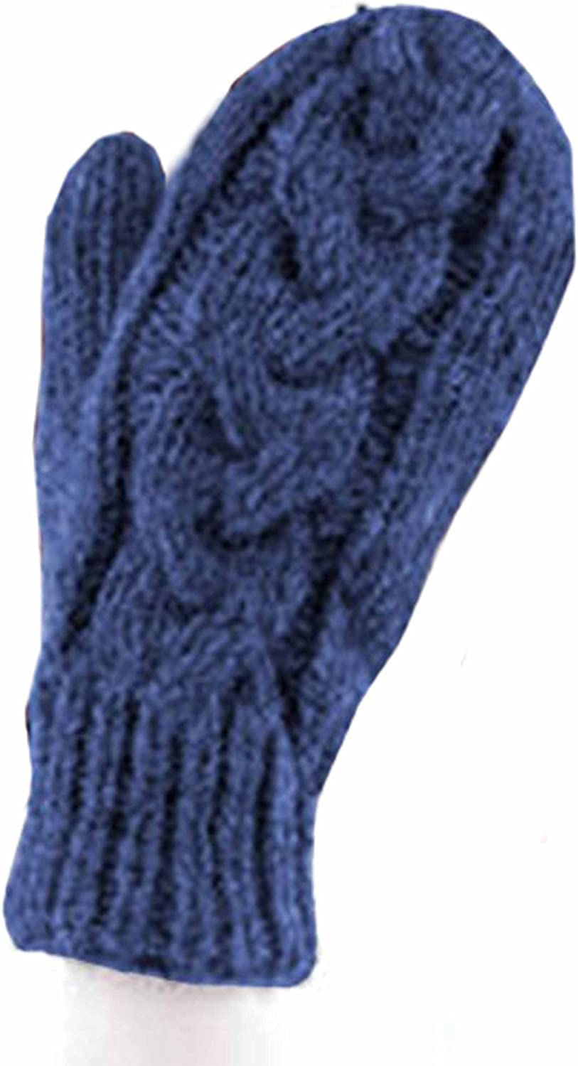 Braided Cable Knit WOOL MITTENS (Blue)