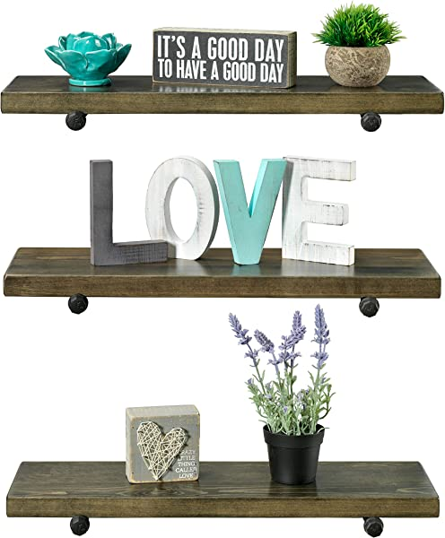 Rustic Farmhouse 3 Tier Wood Shelves With Black Pipe Brackets Walnut 3 Tier
