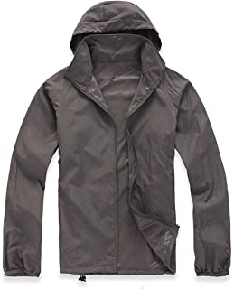 Mens Lightweight Jacket, Thin Waterproof Raincoat with UV Protect + Quick Dry Technology, Hooded Windbreaker with Portable Travel Pouch