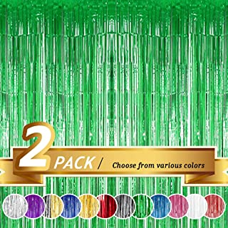 BTSD-home Green Foil Fringe Curtain, Metallic Photo Booth Backdrop Tinsel Door Curtains for Wedding Birthday Bridal Shower...