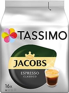 Tassimo Cápsulas de Café Jacobs Espresso, Café Molido de Tueste Natural, Certificado Rainforest Alliance, 5 x 16 T-Discs