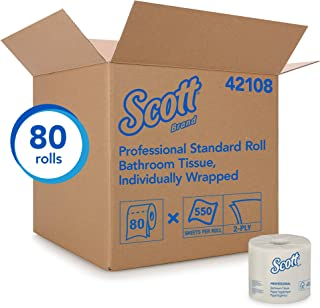Scott Essential Professional Bulk Toilet Paper for Business (42108), Individually Wrapped Standard Rolls, 2-PLY, White, 80 Rolls / Case, 550 Sheets / Roll