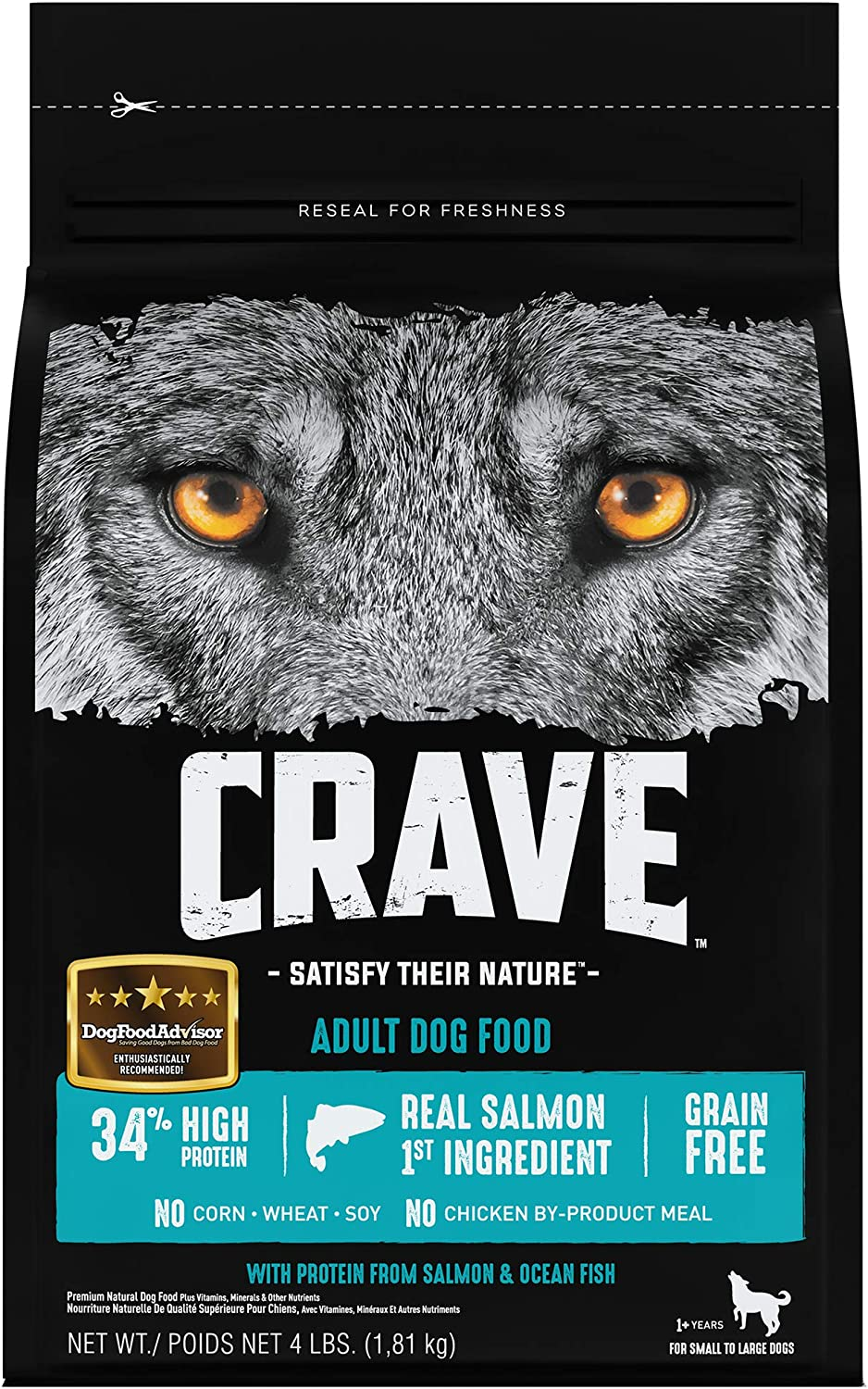 CRAVE Grain Free with Predein from Salmon and Ocean Fish Dry Adult Dog Food, 4 Pound Bag