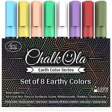 Chalkboard Chalk Markers - Pack of 8 Classic Earth color pens - For Blackboards, Chalkboard, Bistro, Window - Erasable Dry Erase Chalk Ink Pen - 6mm Reversible Bullet & Chisel Tip