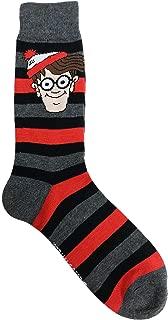 Wheres Waldo Head on Striped Men's Novelty Fashion Crew Socks